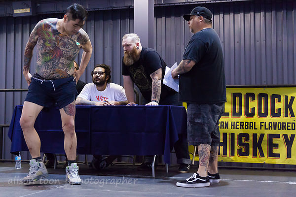Judging the tattoo competition, Norcal Tattoo and Music Festival