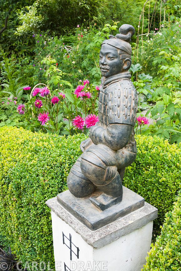 Statue Of A Terracotta Warrior From Xiu0027an Crouching On A Pedestal Marked  With The