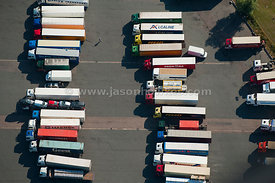 Aerial view of lorries at distribution depot