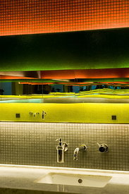 Golf club near Shanghai. Bathroom with multi-coloured tiles