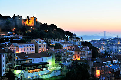 The historical center of Lisbon at twilight. Portugal