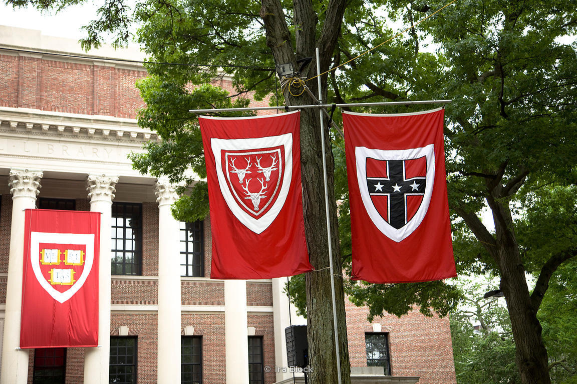 Three Of The Banners On Display For Commencement Ceremonies Outside Library At