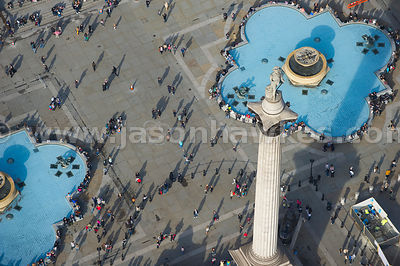 Aerial view of crowds outside the National Gallery, London.