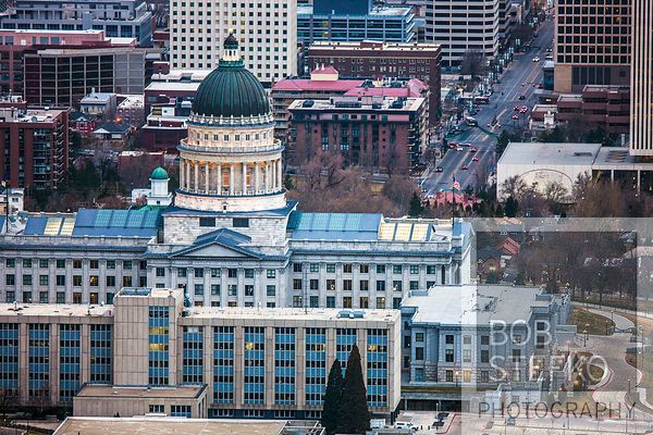 Capital building of Salt Lake City from Ensign Peak, Salt Lake City, Utah, USA