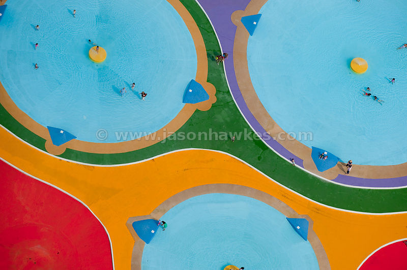 Cassiobury Park, play pools, aerial view
