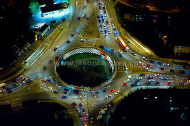 Roundabout at night, London