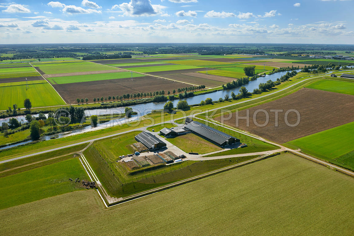 Aerial Photography Of Room For The River Programme A Farm On Dwelling Mound Terp In Overdiepse Polder Widening Bergsche Maas
