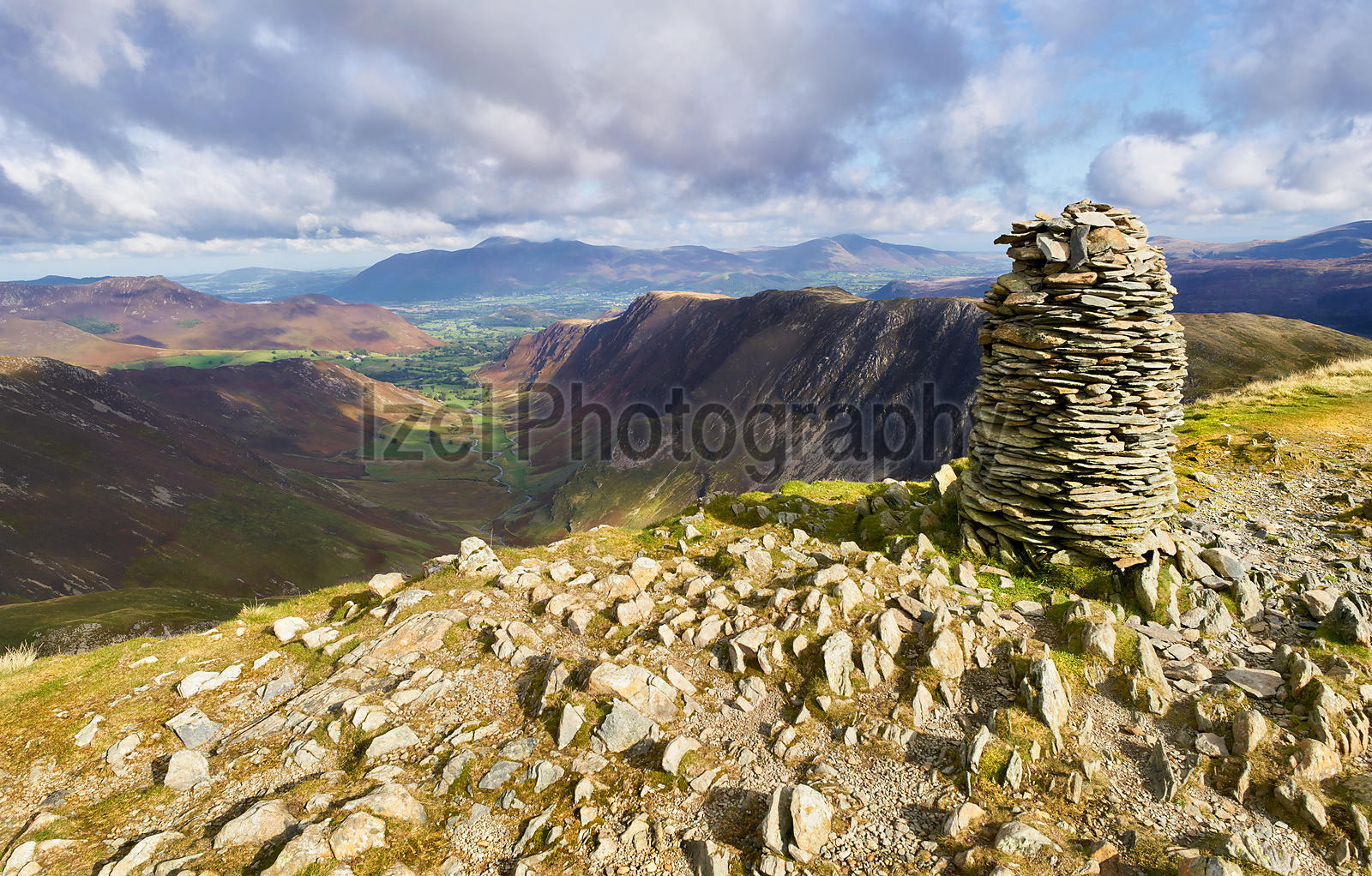 Views of Newlands Beck, High Spy, Narrow Moor and Maiden Moor in the Derwent Fells from the summit Cairn of Dale Head, Lake District, England, UK.