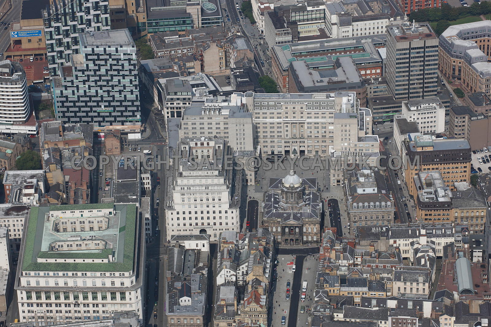 Liverpool Aerial Photograph Looking Down Castle Street Towards The Citys Town Hall Exchange West And
