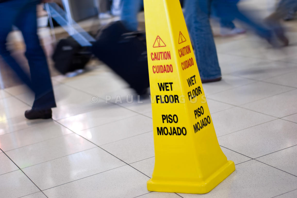Image: Caution Wet Floor Sign with People Walking Picture Large ...