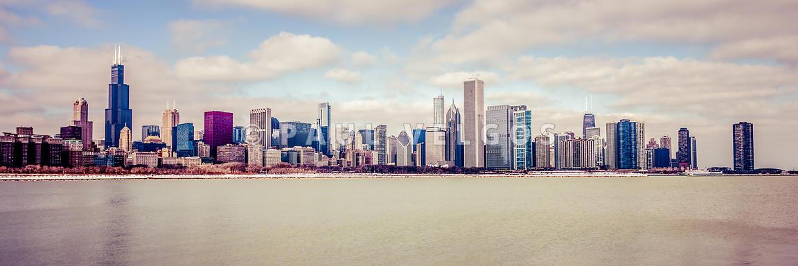 Retro Panorama Chicago Skyline Picture