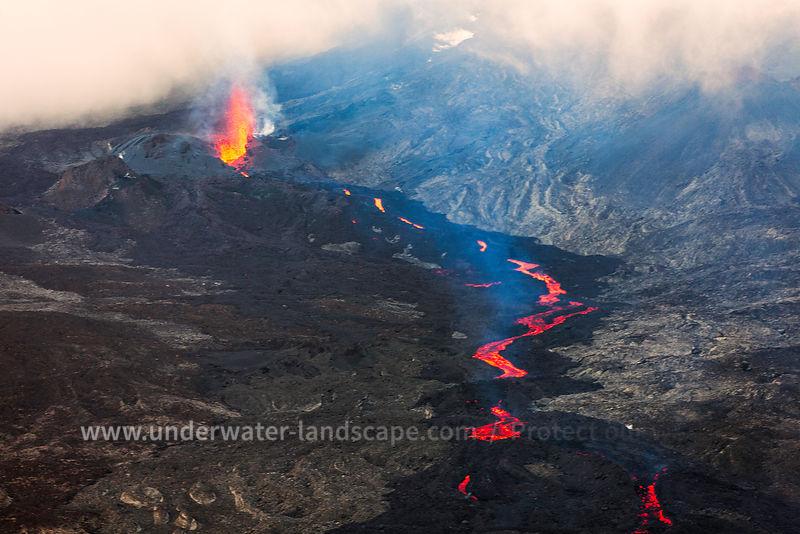 aerian view of a volcano in reunion island - piton de la fournaise-gabriel BARATHIEU
