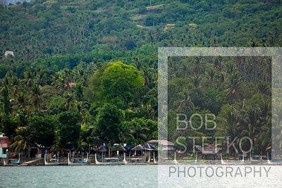 Shore line with pump boats and buildings, Lake Taal, Talisay, Batangas, Philippines