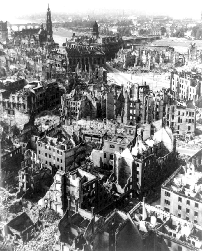 Ruined city of Dresden, Germany during WWII