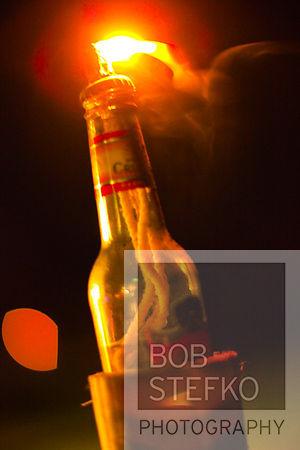 Beer bottle used as candle, Flamingo Lake Resort, Talisay Batangas, Philippines