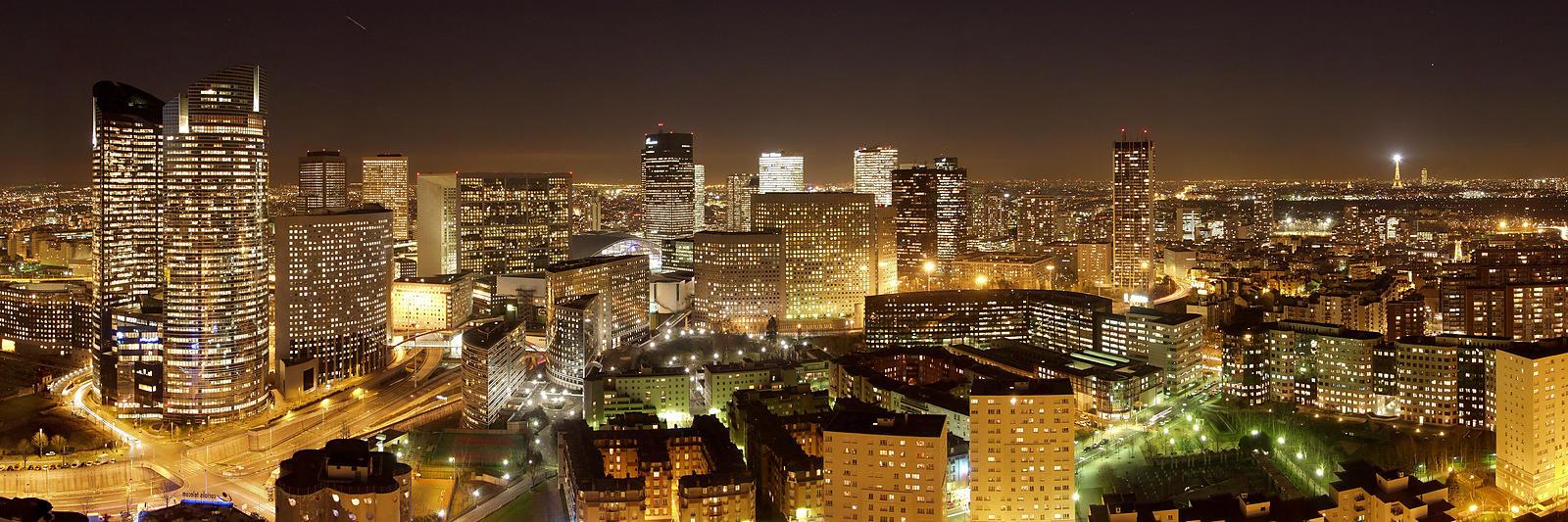 Phototh que arnaud frich panorama de la d fense de nuit for Piscine de nuit paris