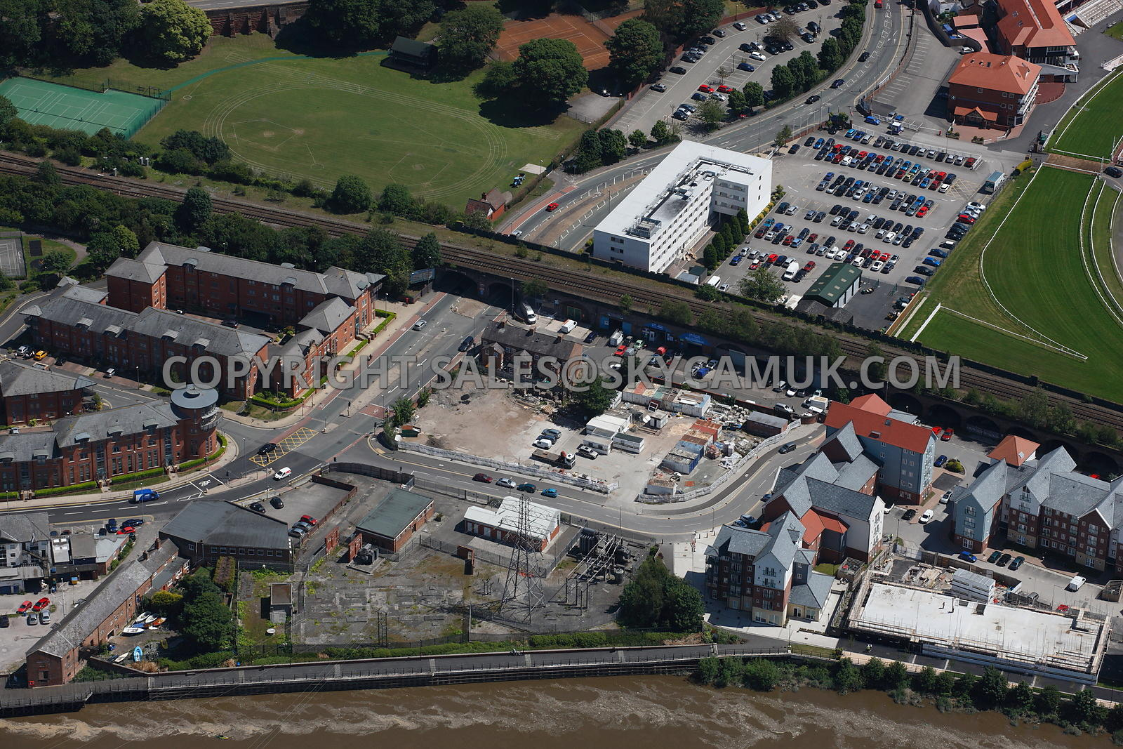 aerial photography of chester aerial view of saddlery way and