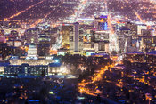 Capital building of Salt Lake City after dark from Ensign Peak, Salt Lake City, Utah, USA
