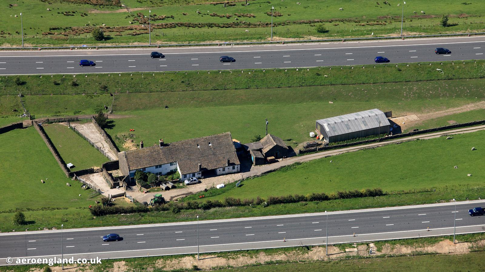 Aerial Photograph Of The Farm In Middle M62 Motorway Yorkshire England UK