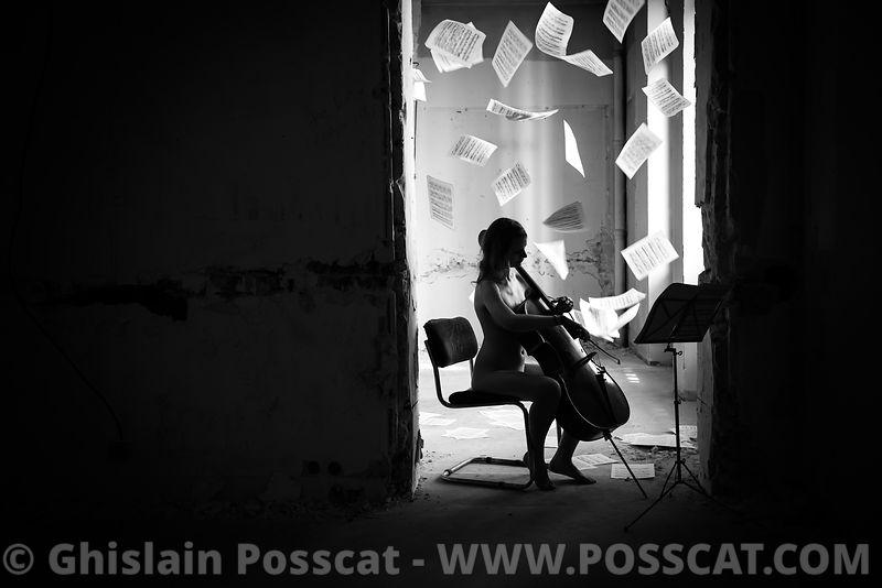 Nu artistique-violoncelliste nue - musicienne nue - Ghislain Posscat — nurbex