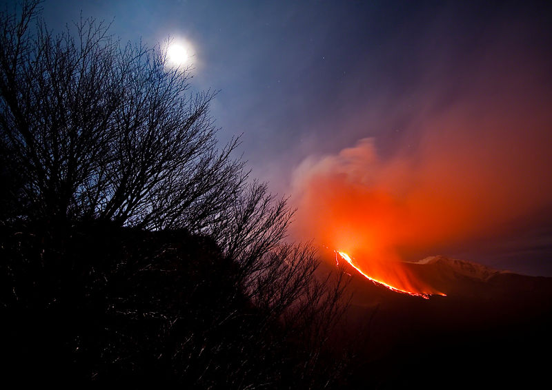 Etna at Moonlight