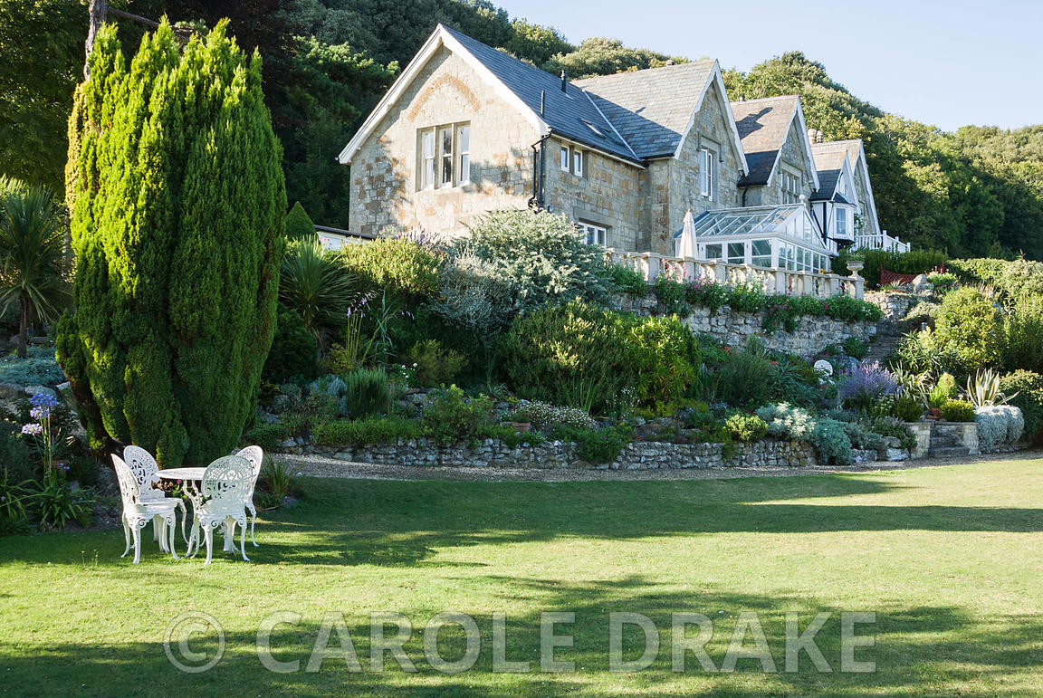 Lawn Below House With Table And Chairs. The Shute, Nr Ventnor, Isle Of