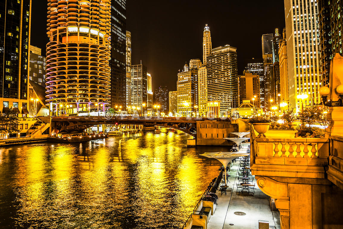 Image: Chicago River Architecture at Night Picture Large Canvas ...