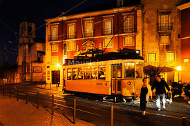 A tram in Alfama quarter. Lisbon