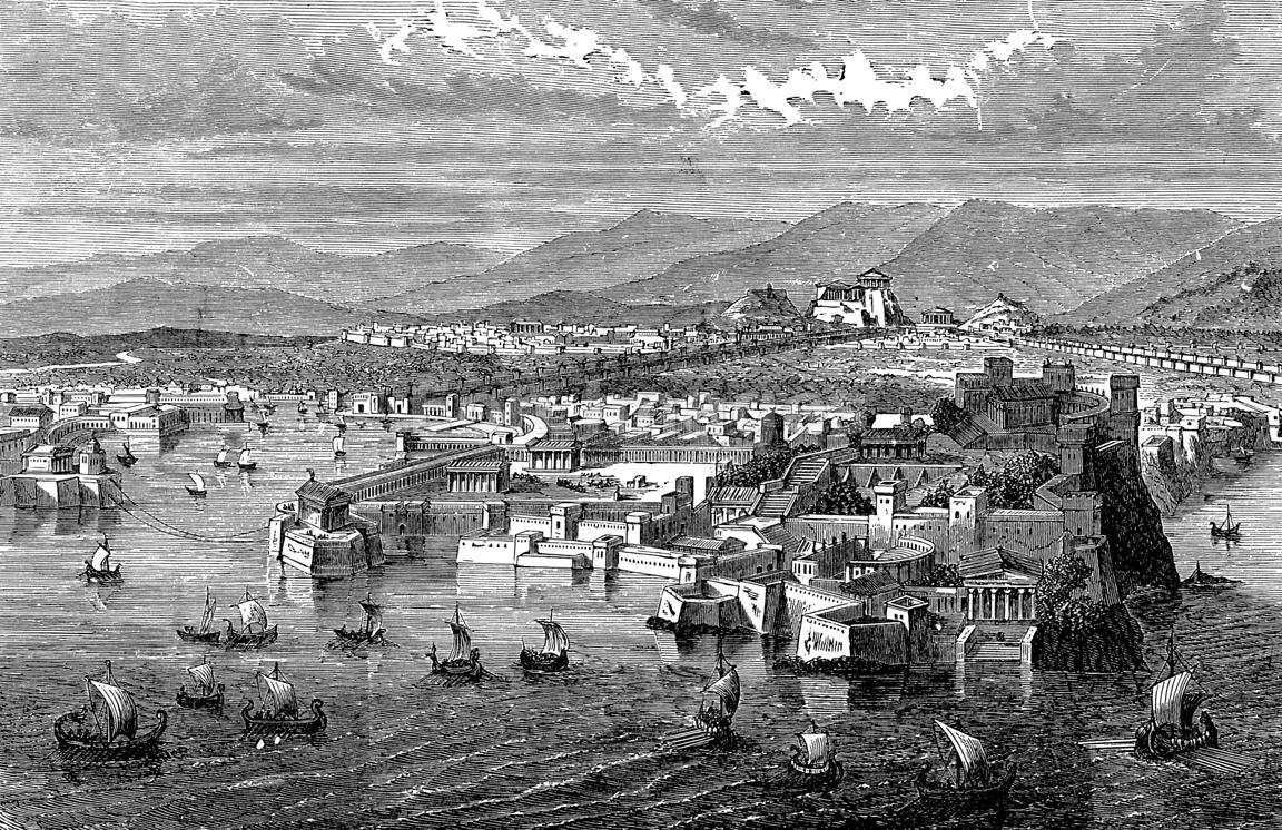 Wonderful Long Pictures For Walls Part - 2: View Of Athens And The Long Walls From Piraeus