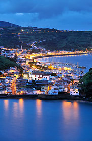 The city of Horta and the Porto Pim district at night. Faial, Azores islands, Portugal