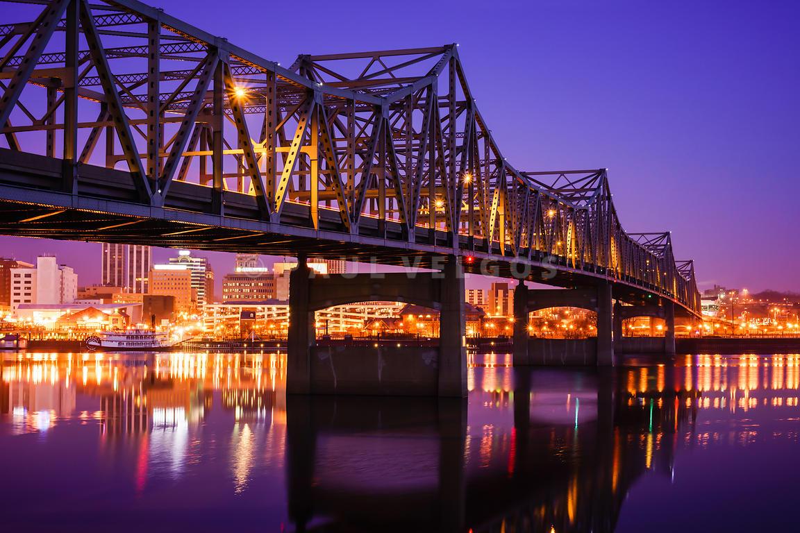 image peoria illinois murray baker bridge at night large canvas