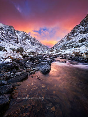french pyrenees-snowy mountains and rivers-sunset