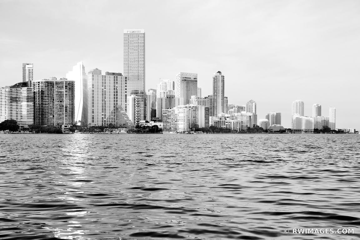 MIAMI SKYLINE AT SUNSET CITY OF FLORIDA BLACK AND WHITE