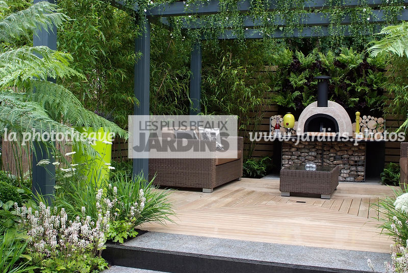 La phototh que les plus beaux jardins jardin tropical for Couleur mur terrasse
