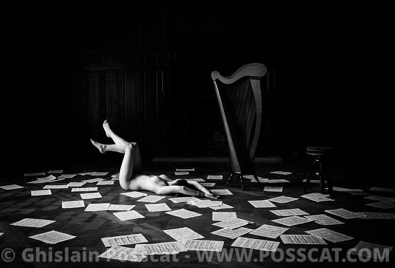 Nu artistique -harpiste nu- musiciennes nues - Ghislain Posscat -chateau éphémère- photo de nu artistique - Chateau ephemere