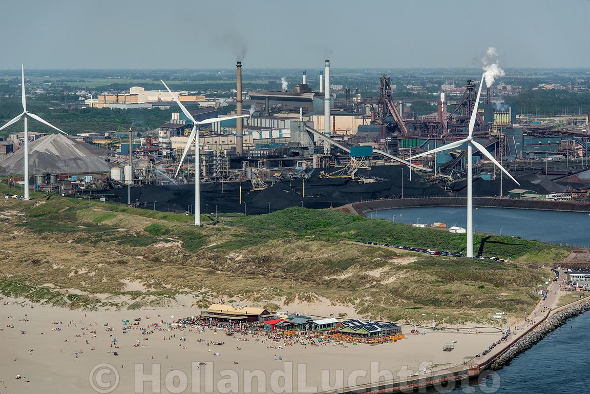 Home Ijmuiden Luchtfoto Strand Met Industriegebied Van Tata Steel