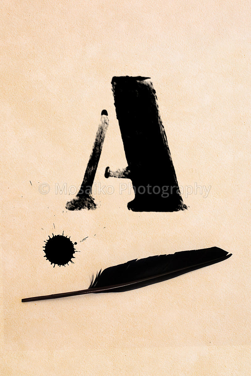 mosaiko photography old black frayed grunge a letter inkblot