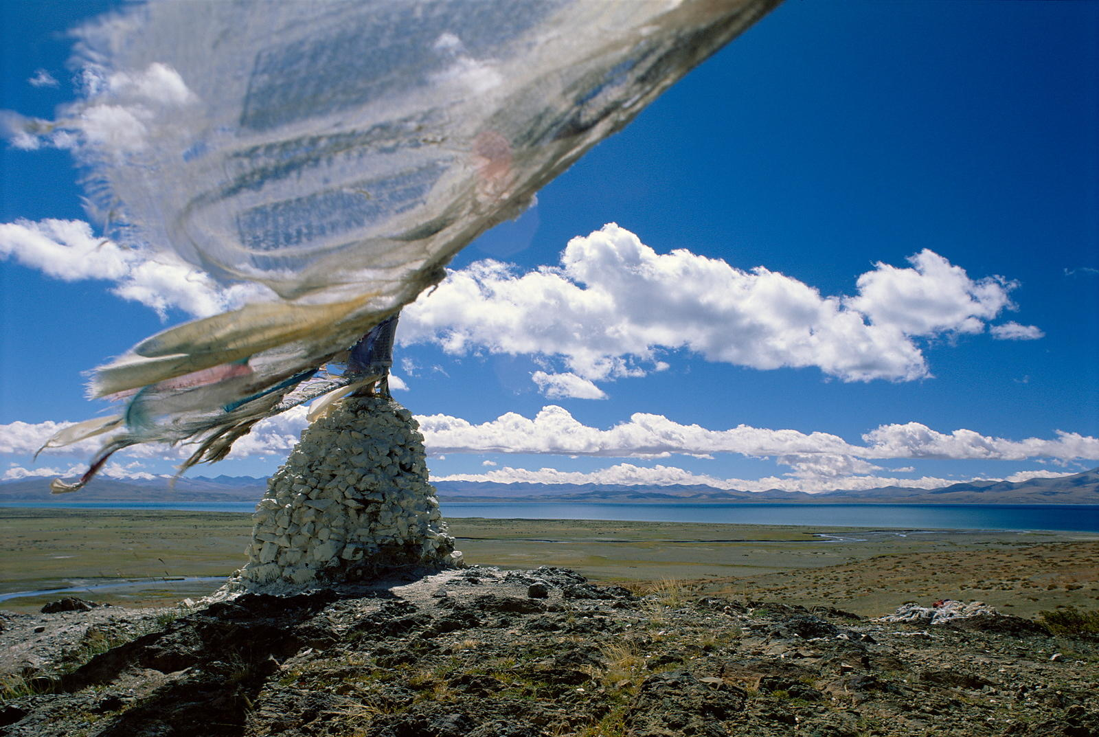 Chorten, prayer flags and Lake Manasarovar