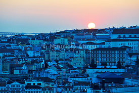 The historical centre at sunset. Lisbon, Portugal