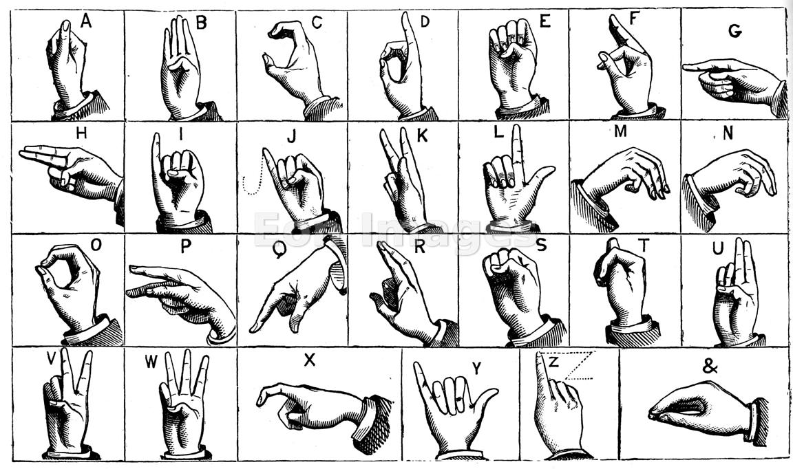 eon images | engraving of manual alphabet or sign language