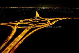 M25 Motorway junction at night