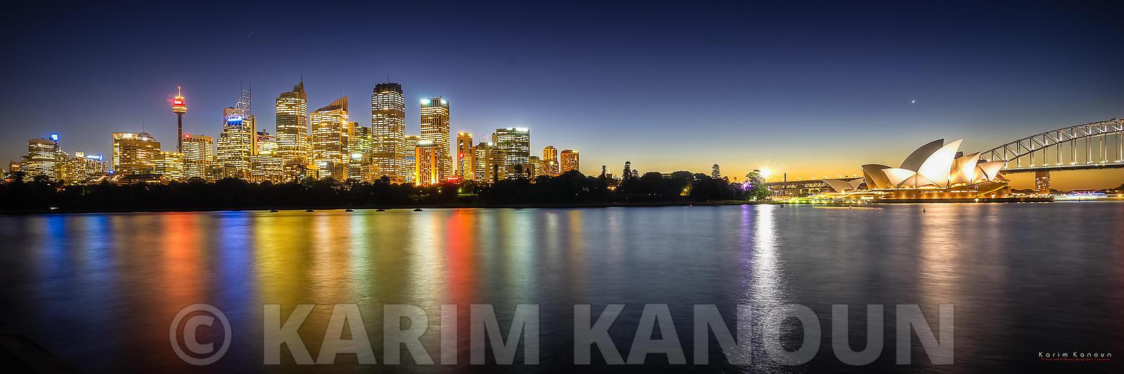 Panorama - Sydney skyline by night