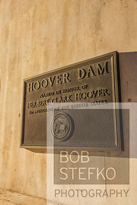 View of Hoover Dam with bronze plaque, Nevada, USA