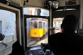 A tram in Graa quarter. Lisbon