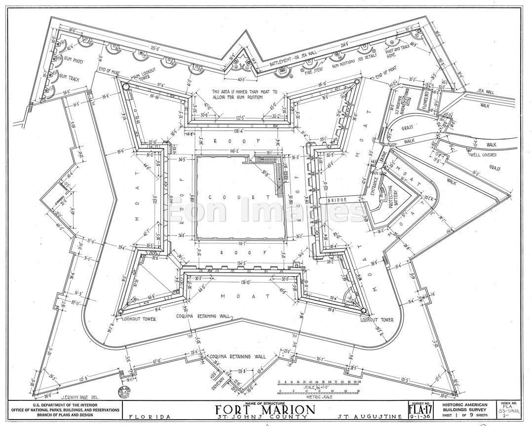 Eon Images | Schematic of the Castillo de San Marcos, St. Augustine ...