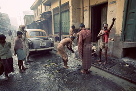 Washing in street