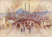Wet day on Galata Bridge by Warwick Goble