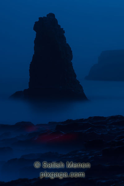 Long Exposure Night Shot of Sea Stack showing red streak noise