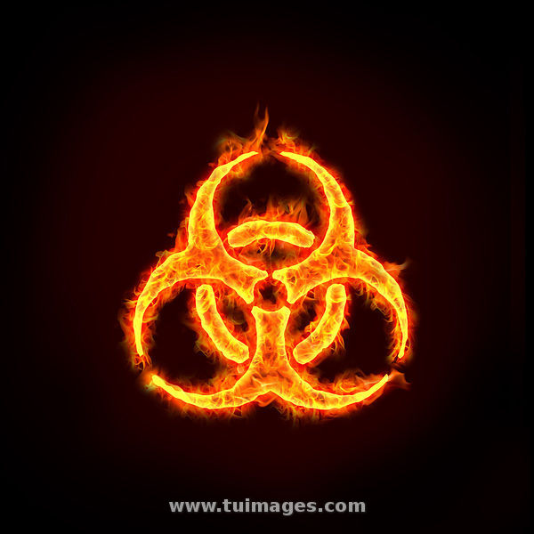 stock images burning biohazard sign on fire. stock photos