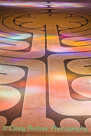 Grace Cathedral Labyrinth Entrance in Stained Glass Rainbow Light